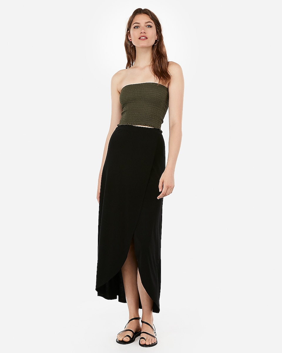 Petite high waisted wrap front maxi skirt