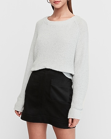 high waisted suede patch pocket mini skirt