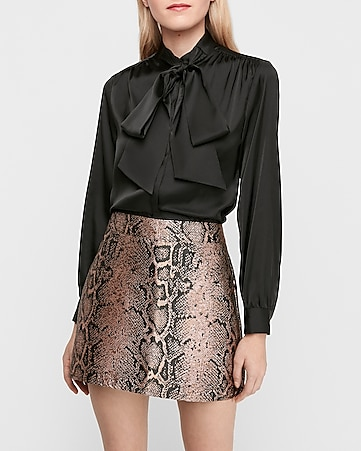 high waisted snakeskin print mini skirt