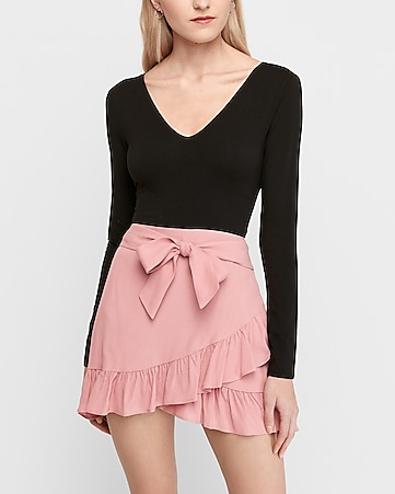 high waisted ruffle wrap mini skirt