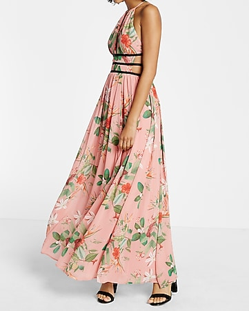761c45877f Floral Print Strappy Plunge Maxi Dress