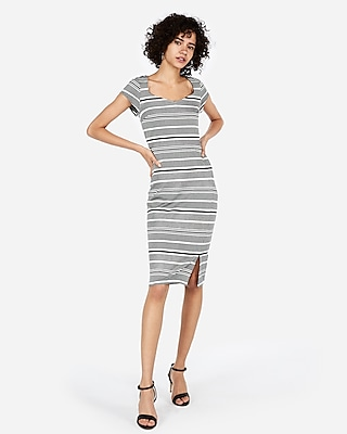 petite striped puff shoulder sweetheart sheath dress