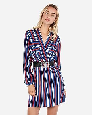 petite surplice striped pocket shirt dress
