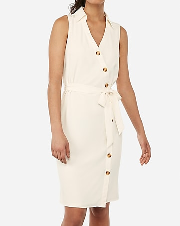 645d1634941 Express View · asymmetrical button front sash tie midi shirt dress