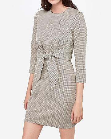 Houndstooth Knot Front Sheath Dress by Express