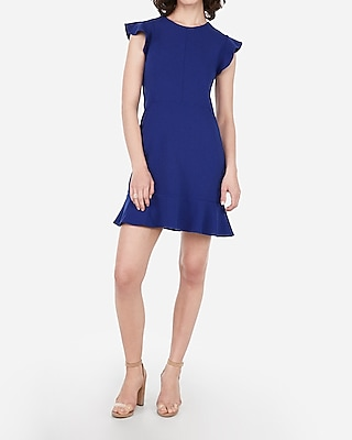 Petite ruffle sleeve fit and flare dress