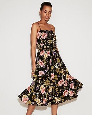 petite floral empire waist midi dress