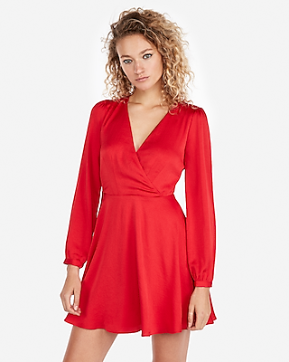 Long Sleeve Surplice Fit And Flare