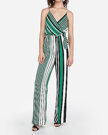 c0b4f84996 express view · striped surplice tie front wide leg jumpsuit