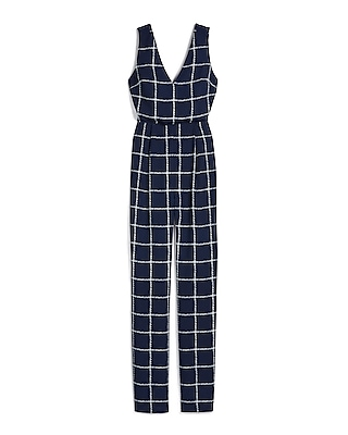 Windowpane Print V Neck Jumpsuit by Express