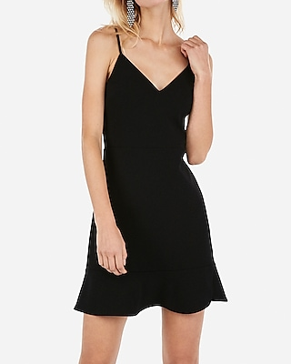 Express.com deals on Express Womens Ruffle Cami Fit And Flare Dress