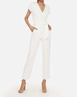 V Neck Tie Waist Jumpsuit by Express