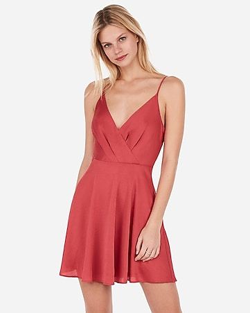 9f9fdce0585 Express View · satin surplice fit and flare cami dress