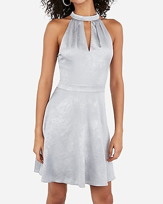 Metallic Halter Keyhole Cut Out Fit And Flare Dress by Express