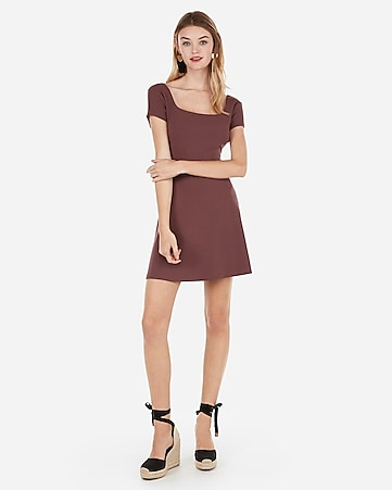 square neck fit and flare mini dress