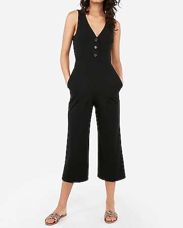 Button Front V Neck Culotte Jumpsuit by Express