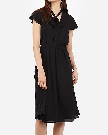 Tie Neck Button Front Midi Dress by Express