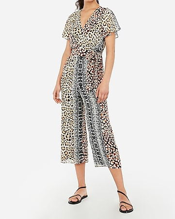 f397607611 Express View · animal print surplice flutter sleeve tie waist jumpsuit