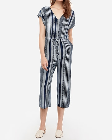 4b13c7464329 Express View · printed v-neck drawstring culotte jumpsuit