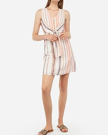 cf6ff3544e39f Express View · striped front tie fit and flare mini dress