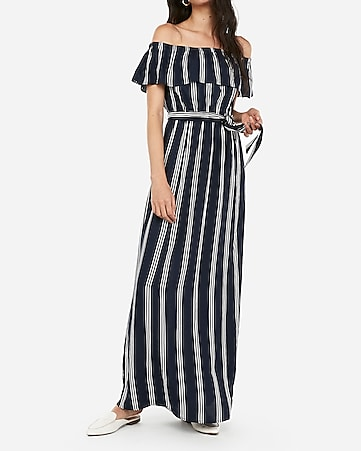 7a637d36982 Express View · striped tie front off the shoulder maxi dress