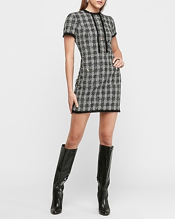Tweed Button Front Mini Dress by Express