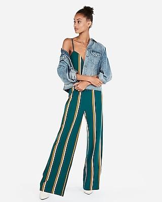petite stripe v-wire cami jumpsuit