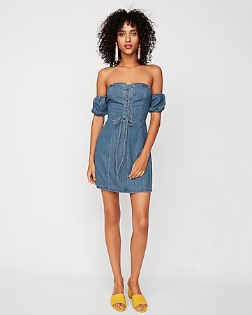 69d17f9a Shoptagr | Off The Shoulder Lace Up Denim Sheath Dress by Express