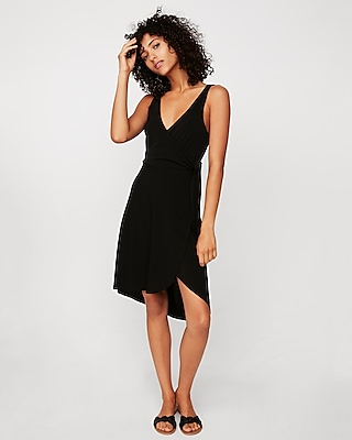 petite surplice wrap midi dress