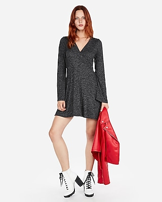 Deals on Express Womens Cozy Plush Jersey Surplice Fit And Flare Dress