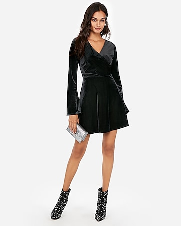 Express View Velvet Surplice Fit And Flare Dress