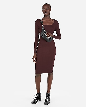 Express View · ribbed square neck sheath dress