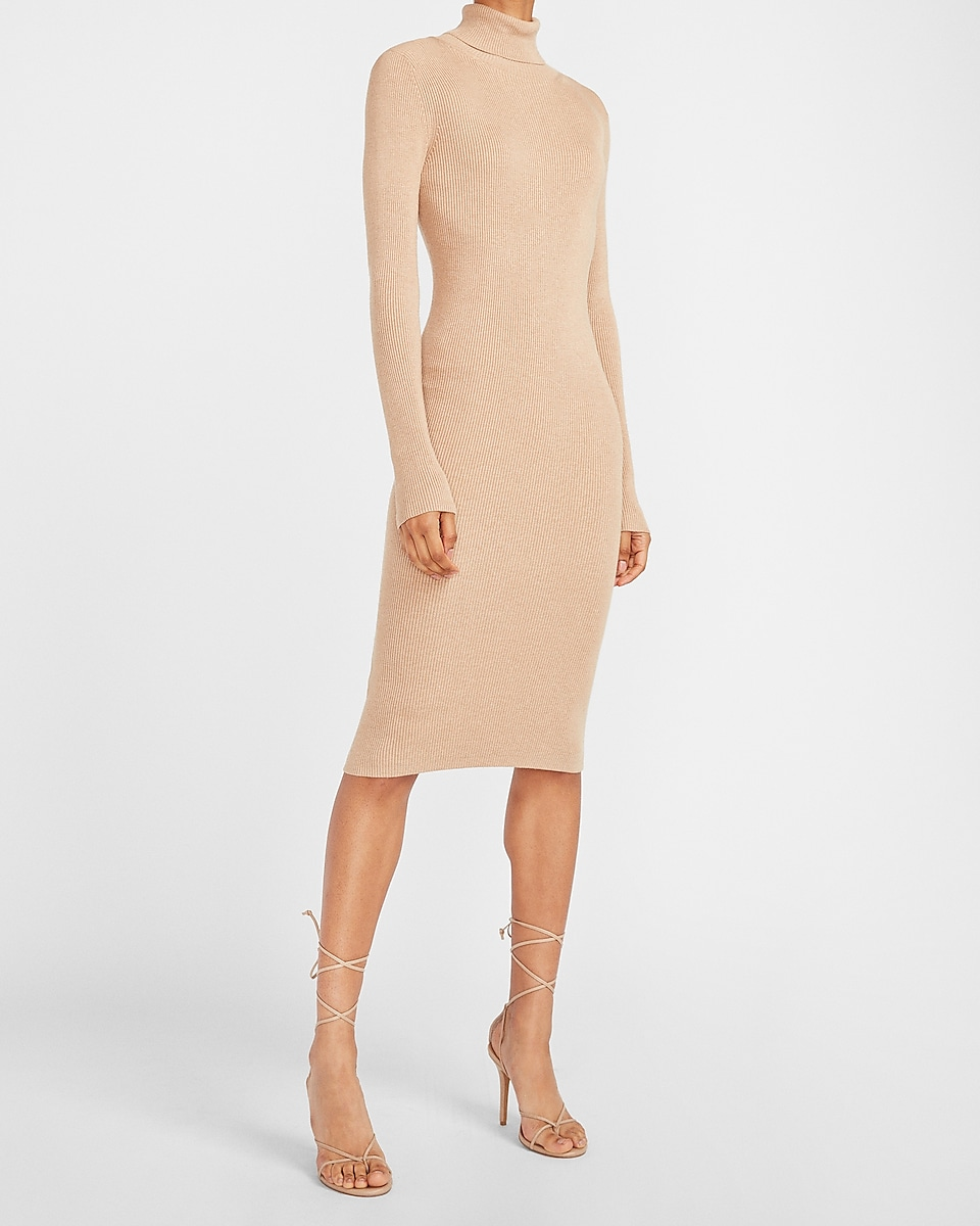 EXPRESS: Ribbed Turtleneck Midi Sweater Dress $54.99