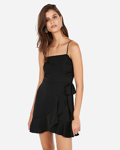 4f027e5fd5f Ruffled Wrap Tie Square Neck Cami Dress