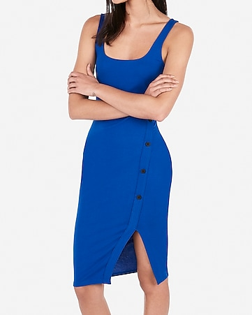 835f82c9da2 asymmetrical button up bodycon midi dress. EXPRESS VIEW
