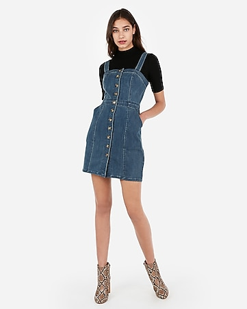 d0931d4bb Button Front Seamed Denim Mini Sheath Dress