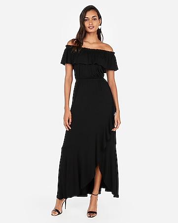 6b06389629c4 Express View · off the shoulder ruffle stretch maxi dress