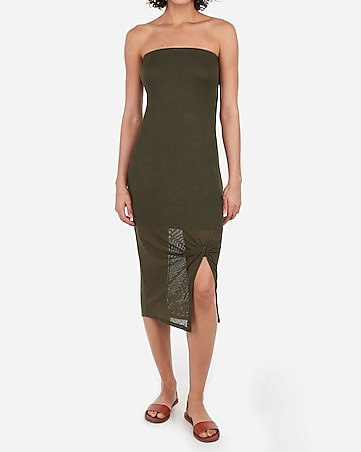 Twist Front Ribbed Midi Dress by Express