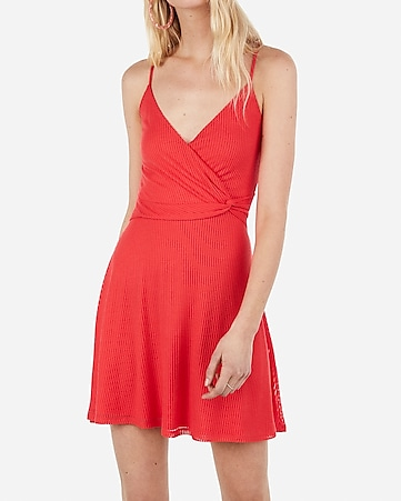 ribbed twist front fit and flare mini dress