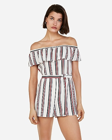 83b3b03e032a Express View · striped off the shoulder ruffle button romper