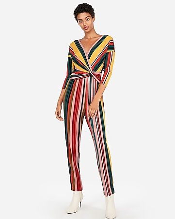 8ca54583753 Express View · stripe long sleeve twist front jumpsuit