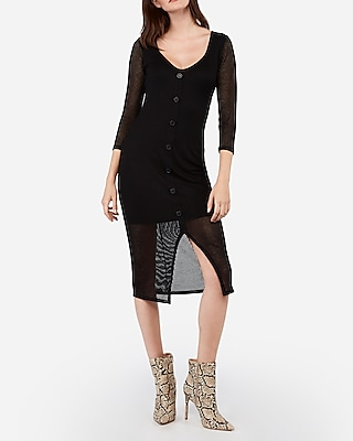 Express.com deals on Express Womens Ribbed Button Front Long Sleeve Midi Dress