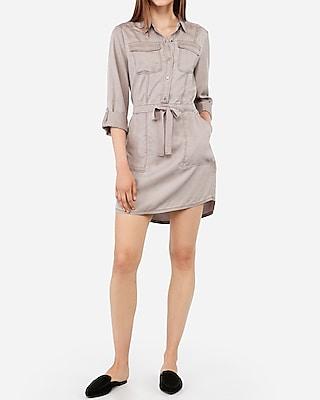 Gray Twill Utility Shirt Dress by Express
