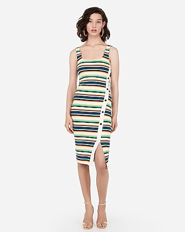 a958a2d120 Express View · striped asymmetrical button front midi bodycon dress