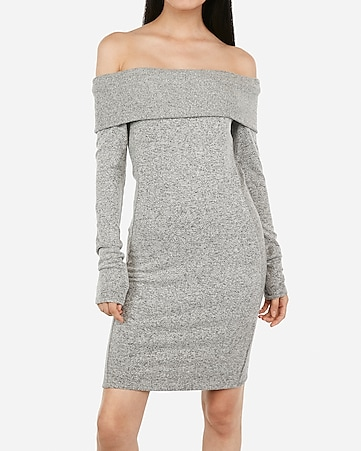off the shoulder ribbed cozy sheath dress