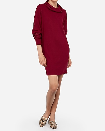 cozy ribbed cowl neck sweater dress
