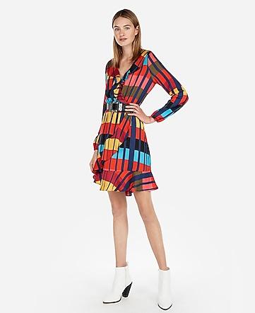 Express View Color Block Elastic Waist Ruffle Wrap Dress