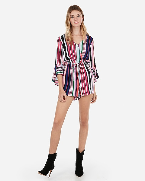 56edefd3a7e Striped Surplice Bell Sleeve Romper