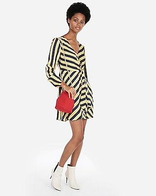 petite striped knotted v-neck dress