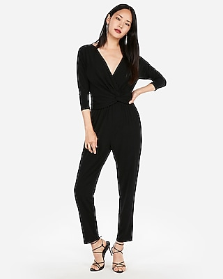 petite long sleeve twist front jumpsuit